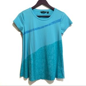 H by Halston Engineered Wave Print Color Block Top